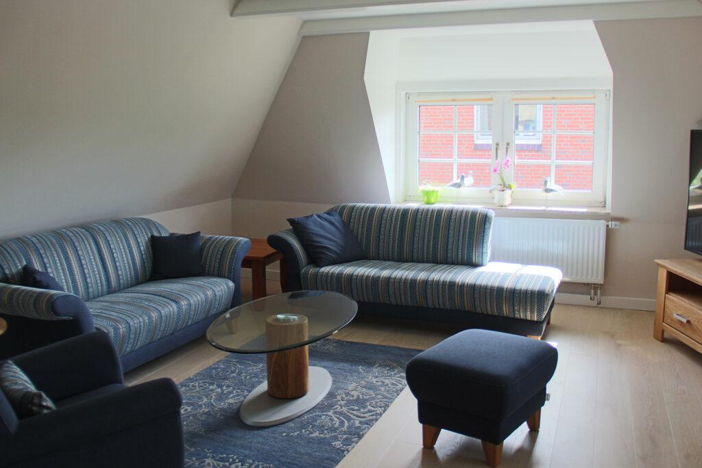 Ferienhaus auf Pellworm Wohnzimmer Sitzecke
